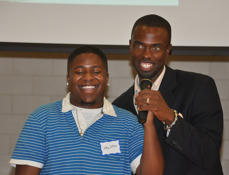 2427_Jarell_Roach_and_Student_MC_Joshua_Cathey_enjoy_a_laugh_1200x917.JPG