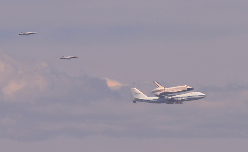 Space Shuttle Endeavour flyover Los Angeles