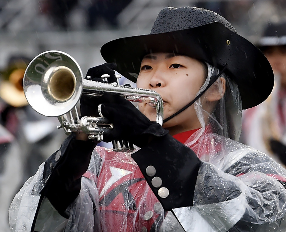 . Koriyama Honor Green Band from Koriyama, Japan performing at Bandfest Tuesday, December 30, 2014.  These feature bands selected to participate in the 2015 Rose Parade. Over the course of two days, each band, along with its auxiliary performers, will present the field show that has led to its success. Three Bandfest events will take place at Pasadena City College on December 29 and 30, 2014..(Photo by Walt Mancini/Pasadena Star-New)
