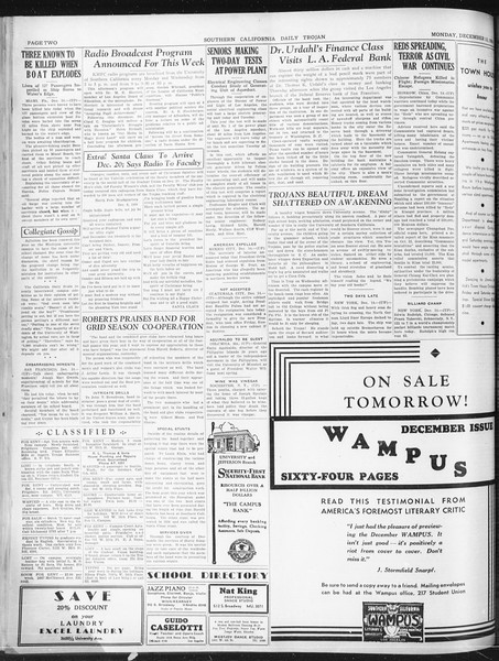 Daily Trojan, Vol. 22, No. 63, December 15, 1930