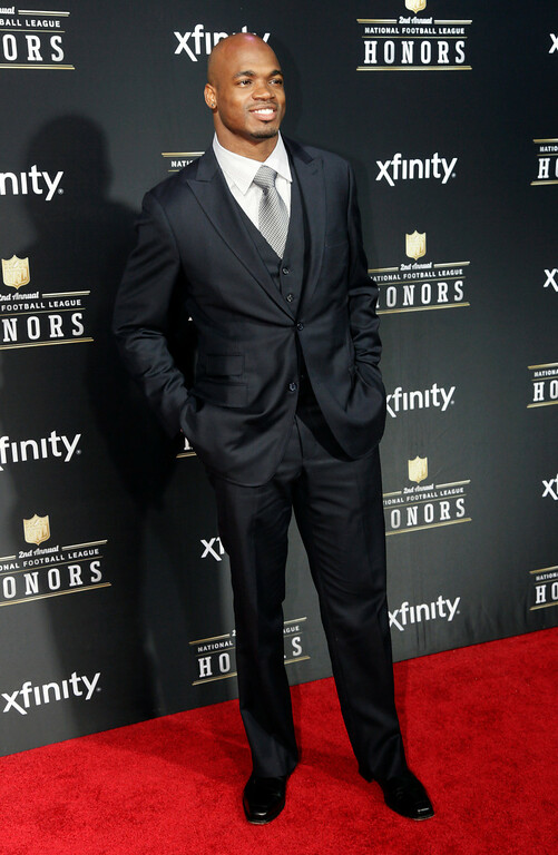 . Adrian Peterson of the Minnesota Vikings arrives at the 2nd Annual NFL Honors on Saturday, Feb. 2, 2013 in New Orleans. (Photo by AJ Mast/Invision/AP)
