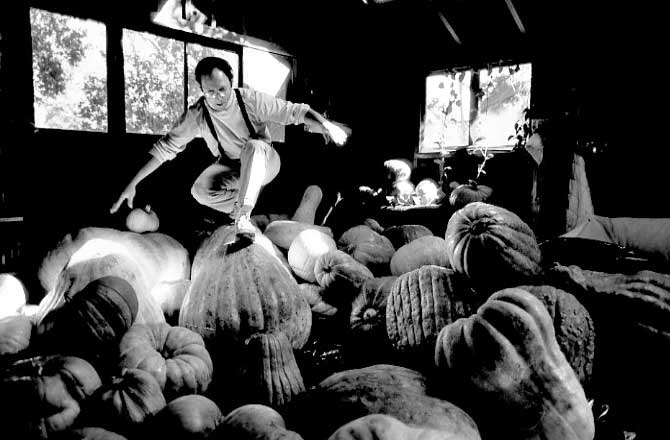 . 1990: Dan Shapiro prepares for his Halloween tradition at his Menlo Park home, a pumpkin-carving party for which he has trucked in 3,500 pounds of gourds. (Gary Parker, Mercury News)