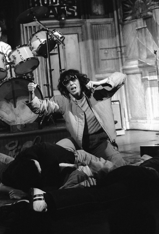 . Comedian Lily Tomlin rehearses her punk act as Agnes Angst in New York, Thursday, Jan. 19, 1983. She was rehearsing for a Saturday Night Live Show, which is to be telecast on Saturday, January 22. (AP Photo/Marty Lederhandler)