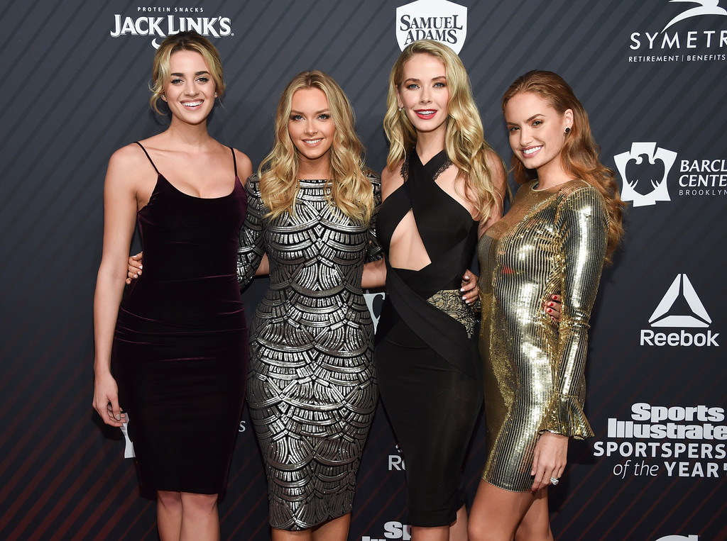 . Swimsuit models Allie Ayers, left, Camille Kostek, Olivia Jordan and Haley Kalil attend the Sports Illustrated 2017 Sportsperson of the Year Awards at the Barclays Center on Tuesday, Dec. 5, 2017, in New York. (Photo by Evan Agostini/Invision/AP)