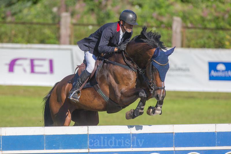 Zigmantas SARKA (LTU) with the horse ASTER, World Cup competition, Grand Prix Riga, CSI2*-W, CSIYH1* - Riga 2016, Latvia