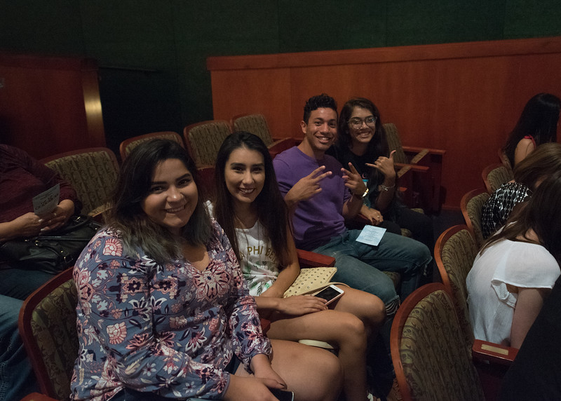 Students Anastaia Herrera, Paola Lopez, Paul Perez, and Joie Harvell posing for a photo before Islander Revue.