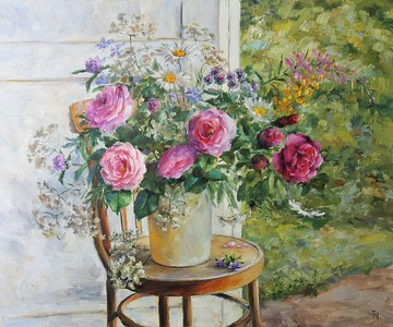 """Careless bouquet"" (oil on canvas) by Tatiana Chepkasova"