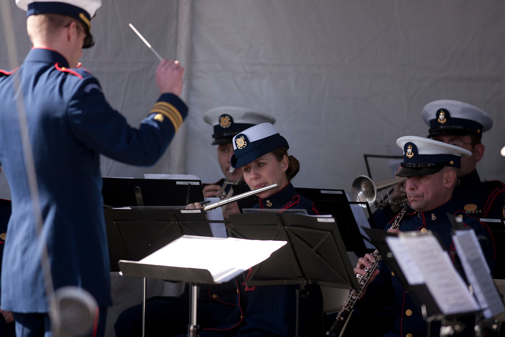 . The U.S. Coast Guard band performs during a memorial service for Boatswain\'s Mate Third Class Travis R. Obendorf, Thursday, Jan. 30, 2014 on Coast Guard Island in Alameda, Calif. Obendorf suffered fatal injuries while performing his duties aboard the Coast Guard Cutter Waesche as part of a search and rescue off the coast of the Alaska in November 2013. (D. Ross Cameron/Bay Area News Group)
