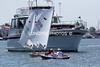 BIG boat encounter on race course.  Sat. June 4, 2011