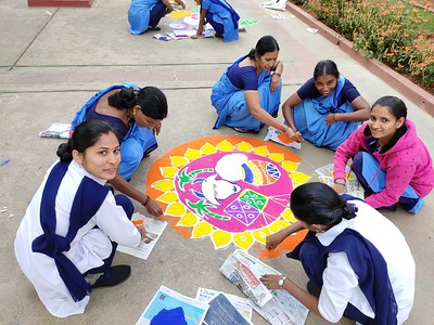 Rangoli Competitions Organized by CHIREC Interact Club