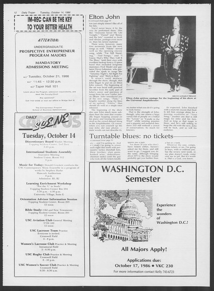 Daily Trojan, Vol. 102, No. 31, October 14, 1986