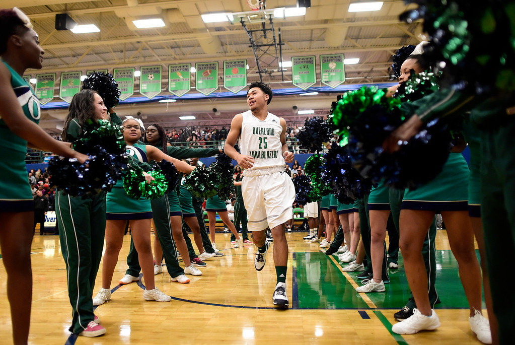 . Tyler Stevenson (25) of Overland is introduced during the first half of play. The Overland Trailblazers hosted the Eaglecrest Raptors on Friday, January 8, 2016. (Photo by AAron Ontiveroz/The Denver Post)