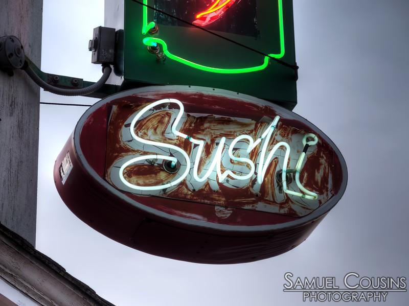 Benkay's Sushi neon sign.