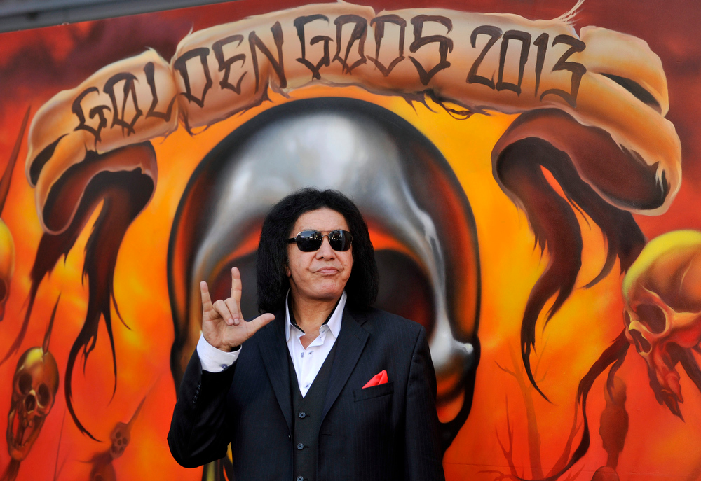 . Gene Simmons of Kiss poses before the 2013 Revolver Golden Gods Award Show at Club Nokia on Thursday, May 2, 2013 in Los Angeles. (Photo by Chris Pizzello/Invision/AP)