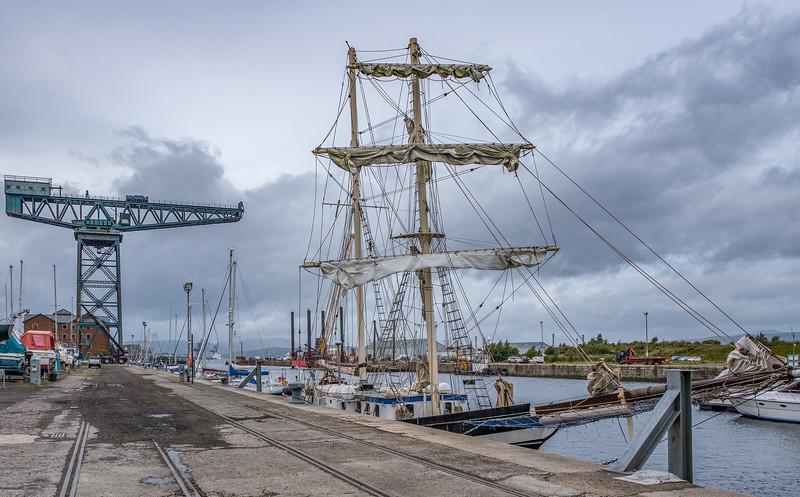 James Watt Dock Marina Greenock under Heavy Skys.