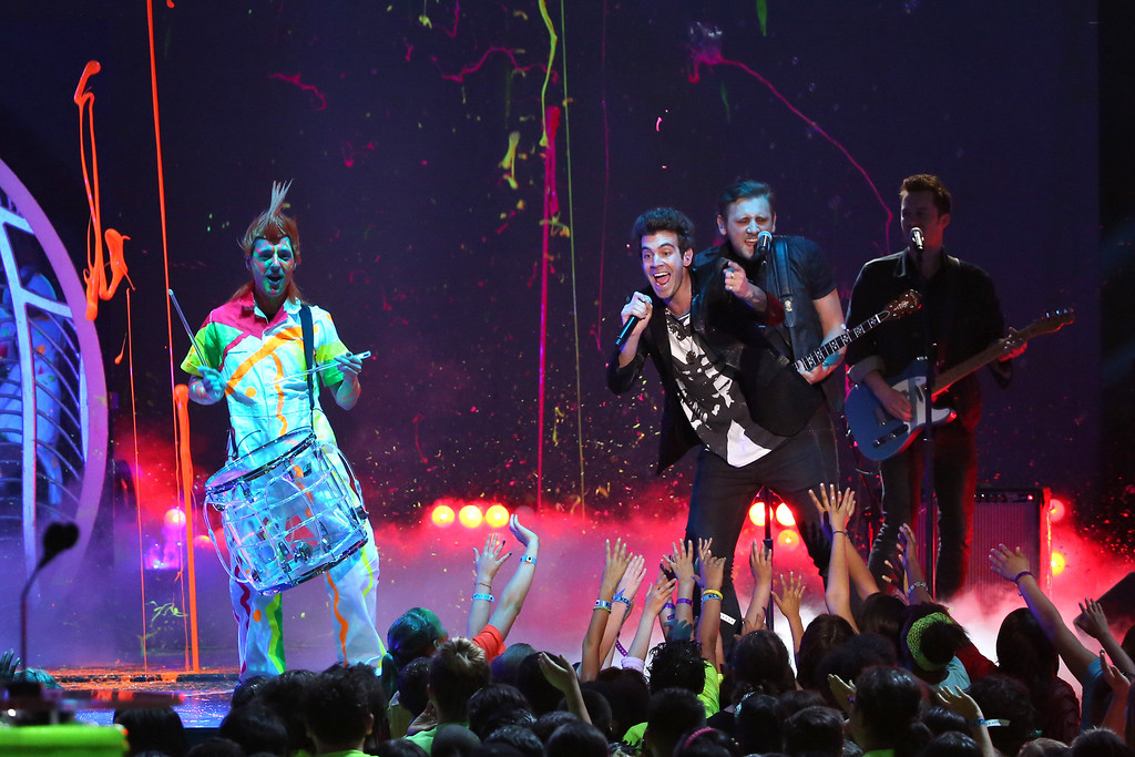 . American Authors performs on stage at the 27th annual Kids\' Choice Awards at the Galen Center on Saturday, March 29, 2014, in Los Angeles. (Photo by Matt Sayles/Invision/AP)