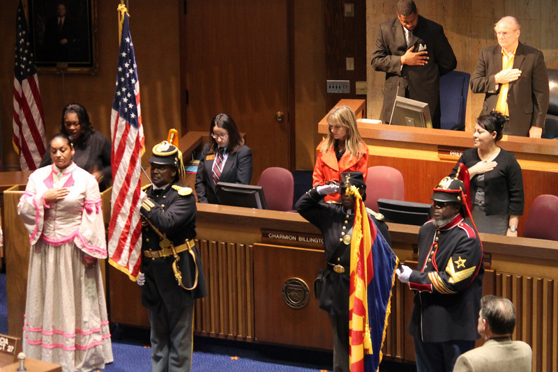 """Black History Month"" - Buffalo Soldiers of the Arizona Territory - Ladies of the Regiment ""Post of Colors"" , 7th Annual African American Legislative Conference at the State Capitol on the Senate Floor."