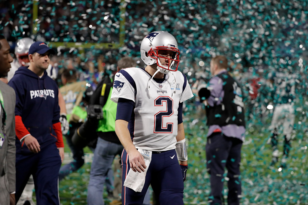 . New England Patriots quarterback Brian Hoyer (2) walks off the field after the NFL Super Bowl 52 football game against against the Philadelphia Eagles, Sunday, Feb. 4, 2018, in Minneapolis. The Eagles won 41-33. (AP Photo/Chris O\'Meara)