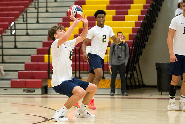 06/04/19 Wesley Bunnell | Staff Newington volleyball defeated Wethersfield 3-0 in a semifinal game at New Britain High School on Tuesday night. Jacob Baclawski (8) and Louis Egbuna (2).
