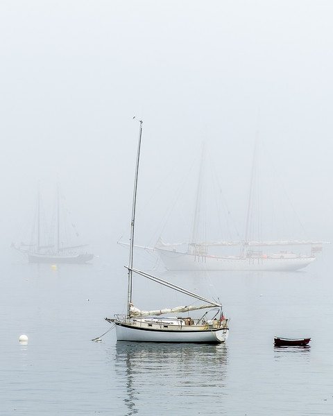 Sailboats Moored in Fog
