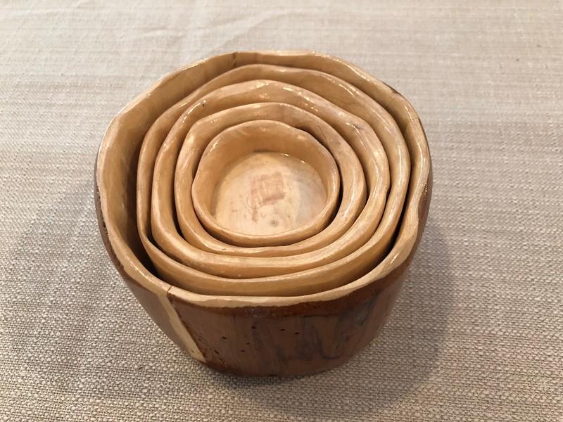 Handmade wooden dish set