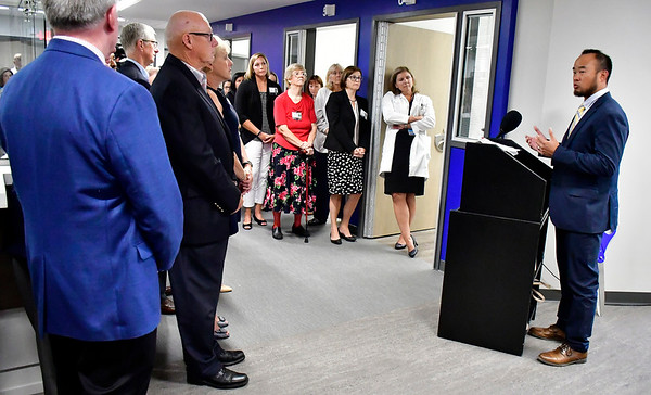 8/9/2019 Mike Orazzi | Staff Andrew Lim, MDchairman of emergency medicine, Bristol Health during the ribbon cutting for behavioral health unit at Bristol Hospital on Friday morning.