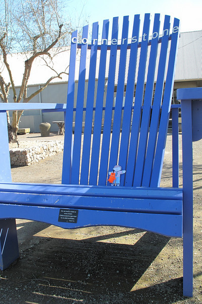 Flat Stanley in the big blue chair at Cornerstone in Sonoma