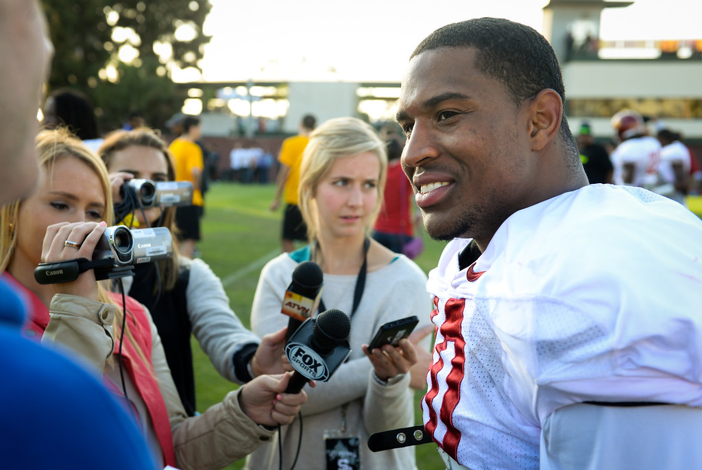 . USC linebacker Hayes Pullard talks with reporters after practice, Thursday, March 27, 2014, at USC. (Photo by Michael Owen Baker/L.A. Daily News)