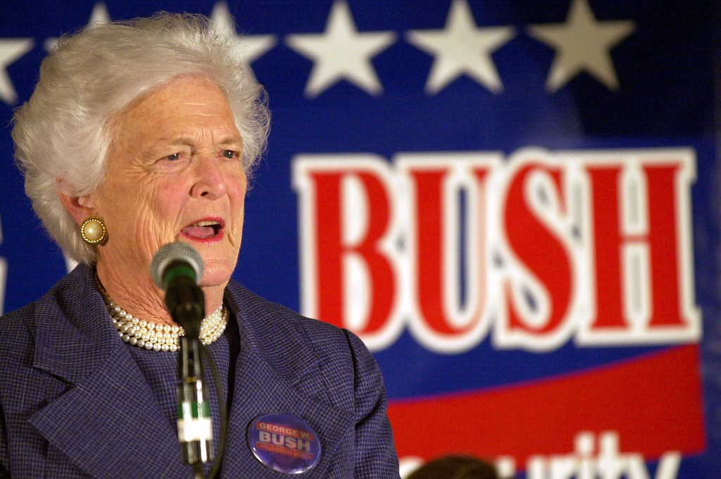 . Former first lady Barbara Bush campaigns for her son, Texas Gov. George W. Bush Saturday Nov. 4, 2000 at Bishops Court Retirement Center in Green Bay, Wis. during a campaign stop.  (AP Photo/Mike Roemer)