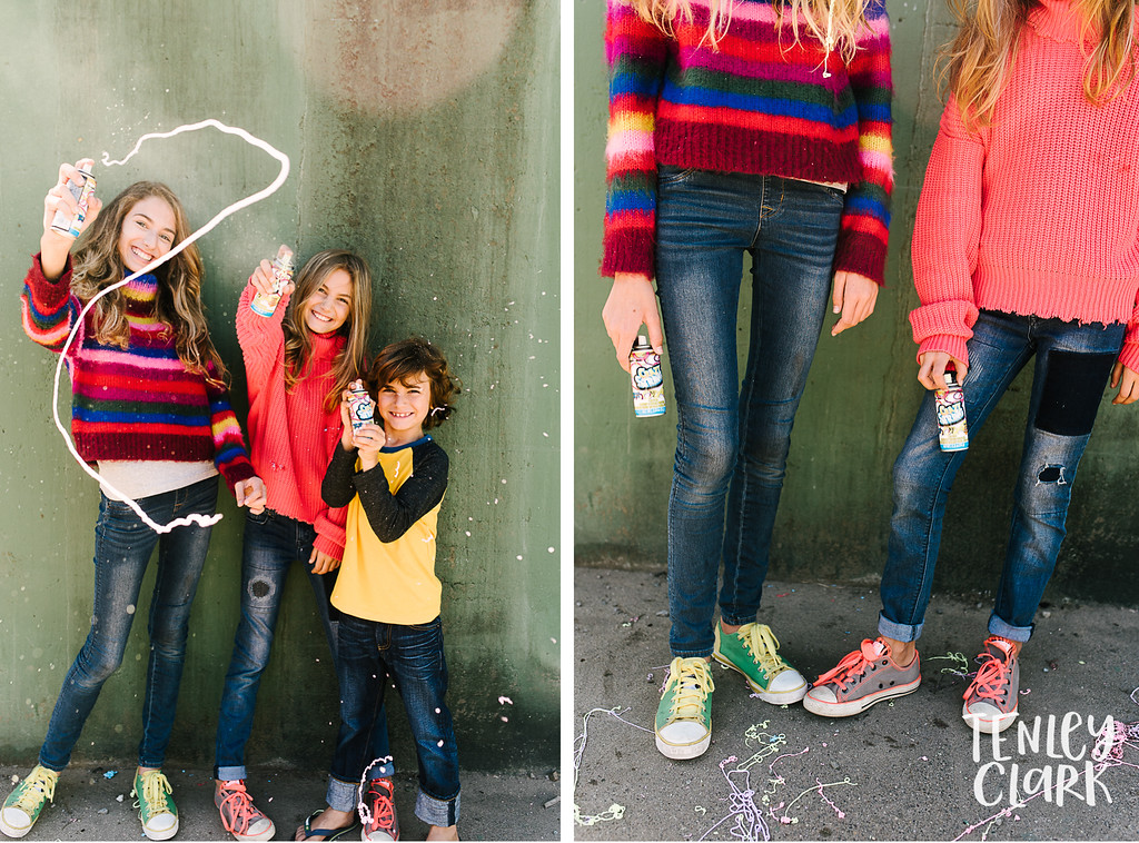 Lifestyle colorful kids at Baker Beach in San Francisco with silly string by Tenley Clark Photography.