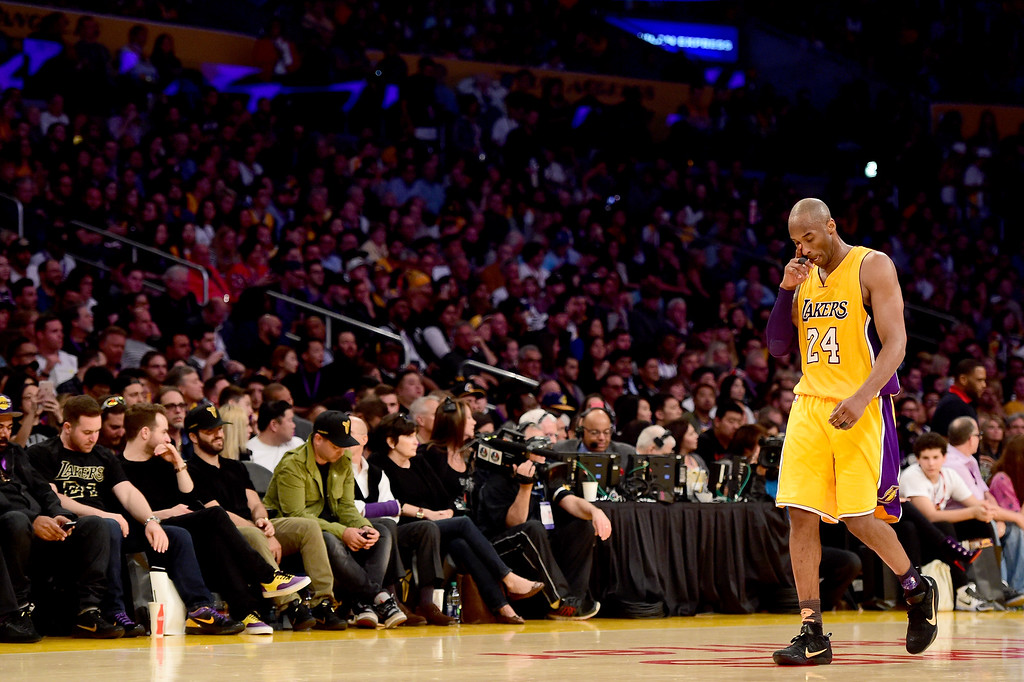 . LOS ANGELES, CA - APRIL 13:  Kobe Bryant #24 of the Los Angeles Lakers reacts while taking on the Utah Jazz at Staples Center on April 13, 2016 in Los Angeles, California. NOTE TO USER: User expressly acknowledges and agrees that, by downloading and or using this photograph, User is consenting to the terms and conditions of the Getty Images License Agreement.  (Photo by Harry How/Getty Images)