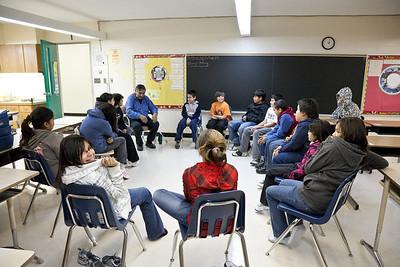 Louis Bird with Bishop Belleau School students 2009 October 6th
