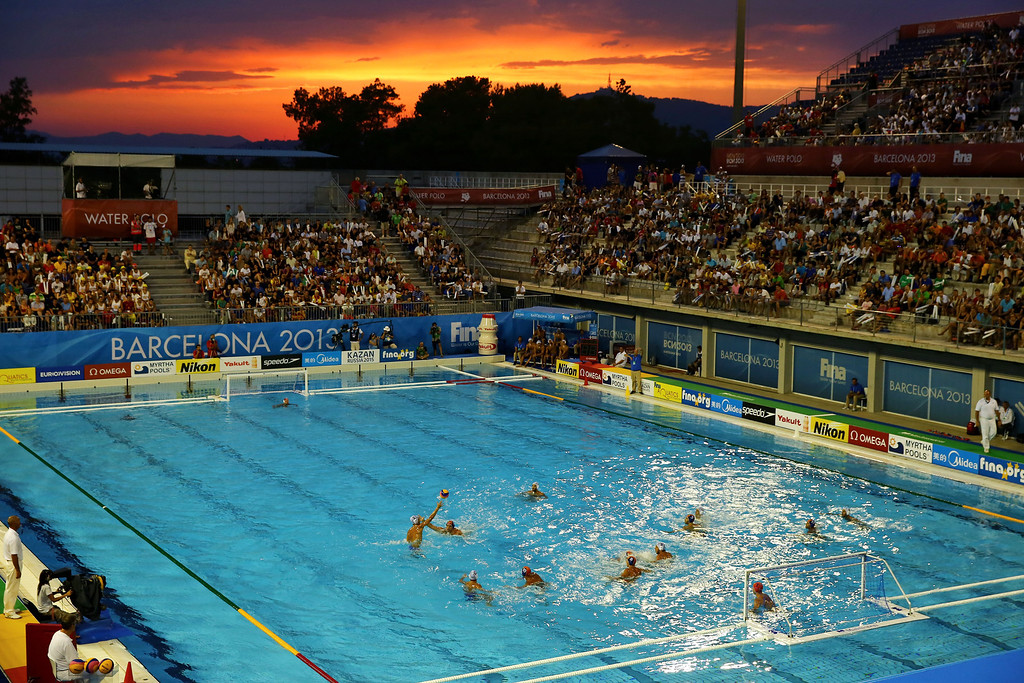 . BARCELONA, SPAIN - AUGUST 03:  A general view of action during the Swimming Men\'s 5th-6th Place Match between Greece and Spain on day fifteen of the 15th FINA World Championships at Piscines Bernat Picornell on August 3, 2013 in Barcelona, Spain.  (Photo by Al Bello/Getty Images)