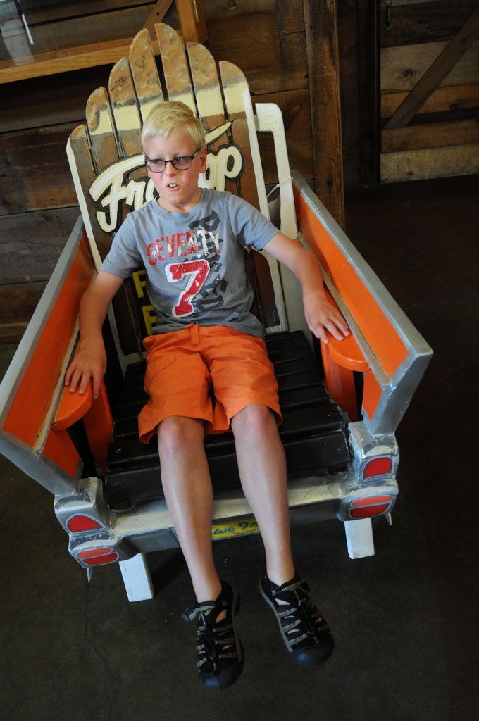 """. \""""It\'s pretty cool. I really like the colors!\"""" said Anders Denanelius, of Bayport as he sat in a chair titled \"""" \'57 Chevy\"""" in Taylors Falls Friday July 26, 2013.  (Pioneer Press: Jean Pieri)"""