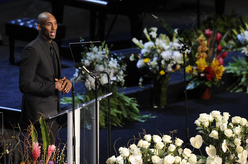 . Kobe Bryant speaks.  Family, friends current and former Lakers players and coaches attended a memorial service at the Nokia Theatre for Laker owner Jerry Buss who passed away on Monday, 2/18/2013 as a result of cancer. Los Angeles, CA 2/21/2013 John McCoy/Staff Photographer