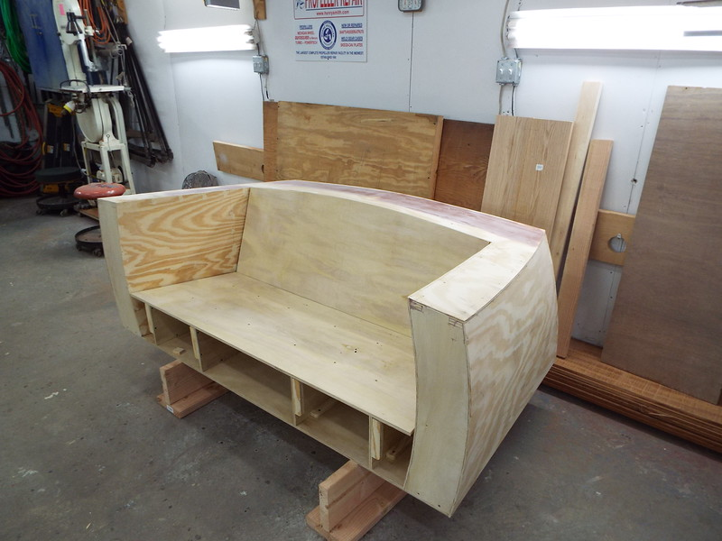 Another view of the love seat ready for the Mahogany skin.