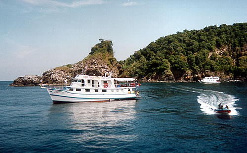 Similan Liveaboard MV Dolphin Queen at anchor in the Similan Islands