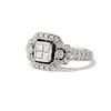 Art Deco Inspired Princess Cut Diamond Halo Ring 1