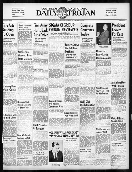 Daily Trojan, Vol. 31, No. 65, January 03, 1940