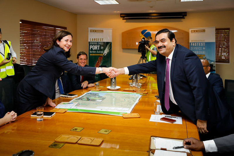06 December 2016 - Townsville, Qld - Adani Carmichael coal mine announcement in Townsville.  Adani Group chairman Gautam Adani meets with Queensland premier Annastacia Palaszczuk at the Port of Townsville -  Photo: Cameron Laird (Ph: 0418 238811 - cameron@cameronlaird.com)