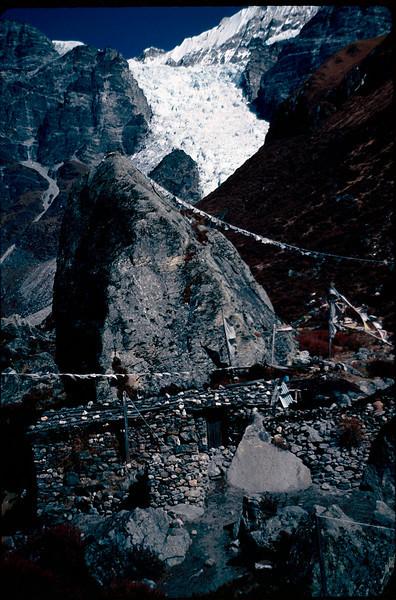 Tibetan shrine at foot of glacier