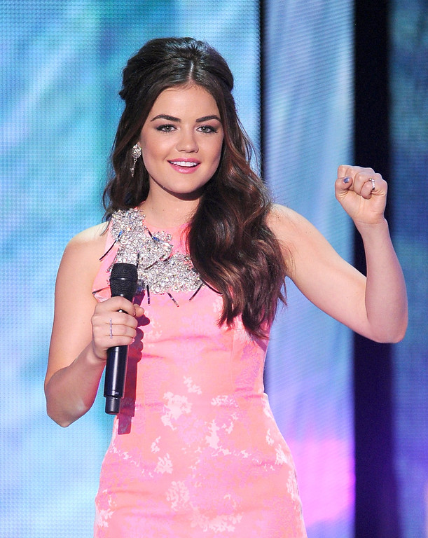 . Host Lucy Hale speaks onstage during the Teen Choice Awards 2013 at Gibson Amphitheatre on August 11, 2013 in Universal City, California.  (Photo by Kevin Winter/Getty Images)