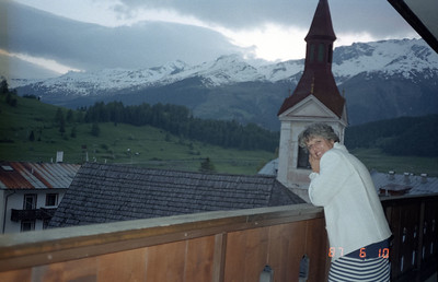 Martha enjoying the evening view of the village and surrounding mountains.