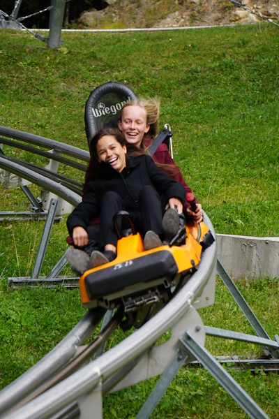 Whitney and Abigale enjoying the luge in Chamonix
