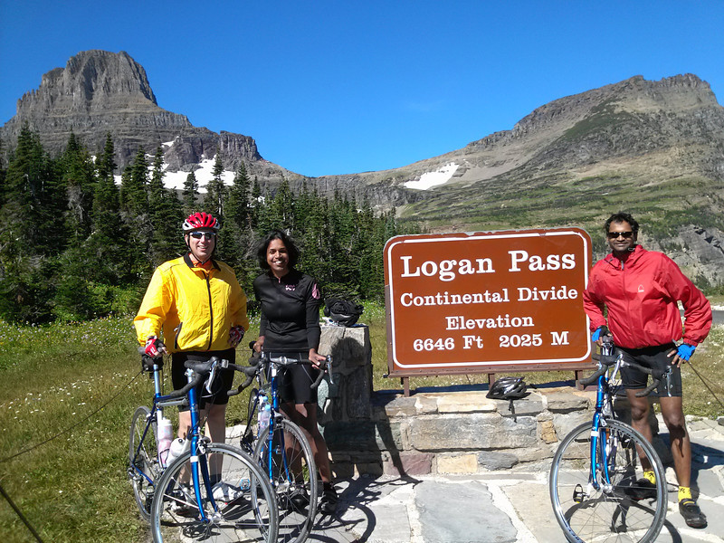 Posing after riding up Going to the Sun Road!