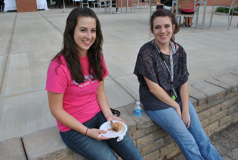 students enjoying pie.