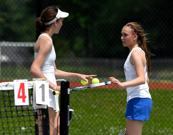 5/26/2018 Mike Orazzi   Staff Old Lyme High Schools Emma Danes and St. Paul Catholic High Schools Carina Fiscella during the 2018 Class S Girls Tennis Tournament with Old Lyme held at Bristol Eastern High School in Bristol Saturday.