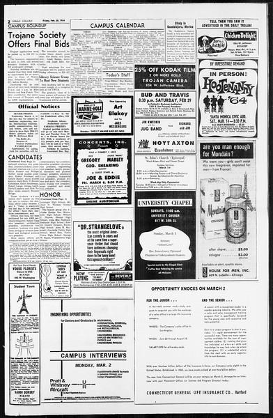 Daily Trojan, Vol. 55, No. 72, February 28, 1964