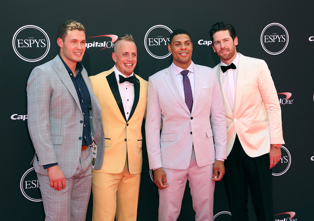. Vegas Golden Knights\' Brayden McNabb, Nate Schmidt, Ryan Reaves and James Neal, from left, arrive at the ESPY Awards at Microsoft Theater on Wednesday, July 18, 2018, in Los Angeles. (Photo by Willy Sanjuan/Invision/AP)