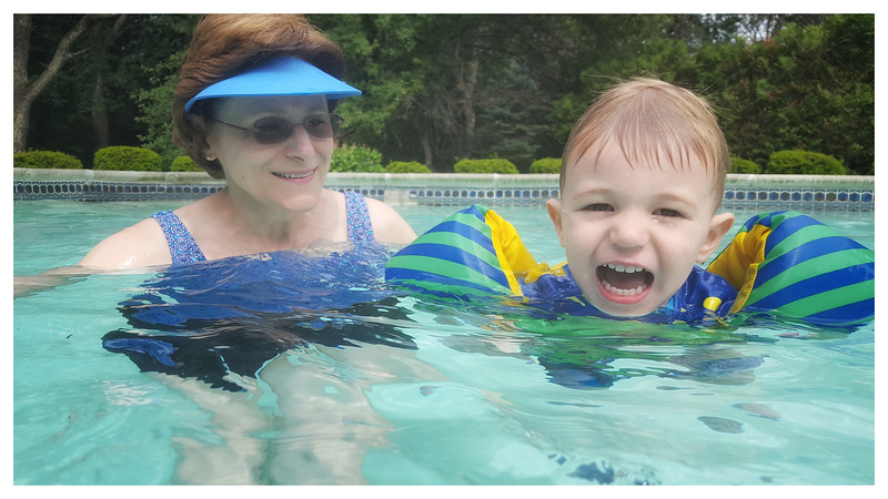 Beckett and Grammy loving the pool!